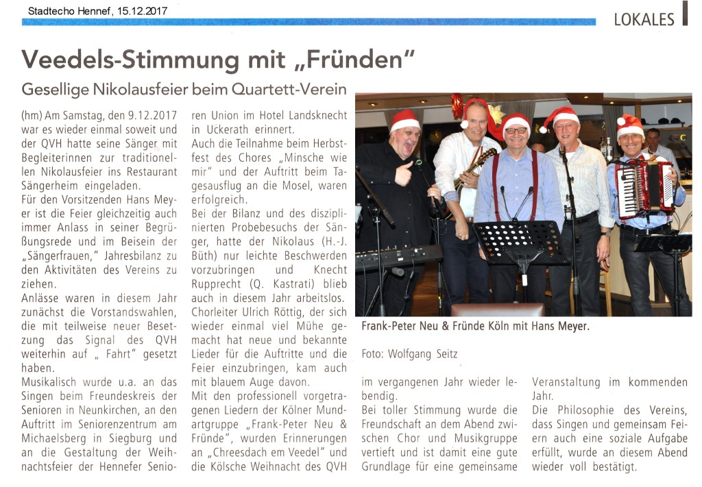 2017.12.15. Stadtechjo Hennef Nilolausfeier QVH